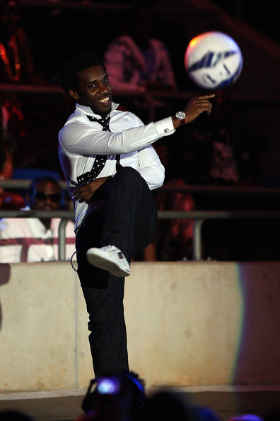 Jay Jay Okocha shows off his skills
