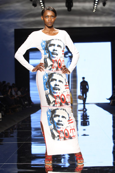 Oluchi in Obama printed shirt dress
