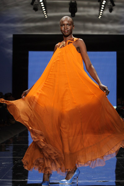 Orange Chiffon Dress (Alek Wek, Sudan)