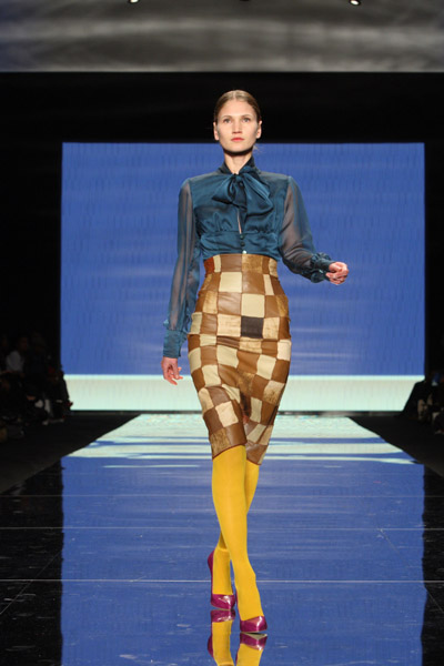 Chiffon bowed shirt and high waisted patchwork skirt (Heidi, South Africa)