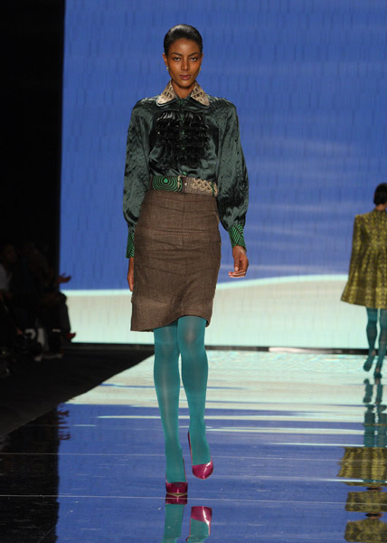 Ruffled silk-satin shirt and pleated wool pencil skirt