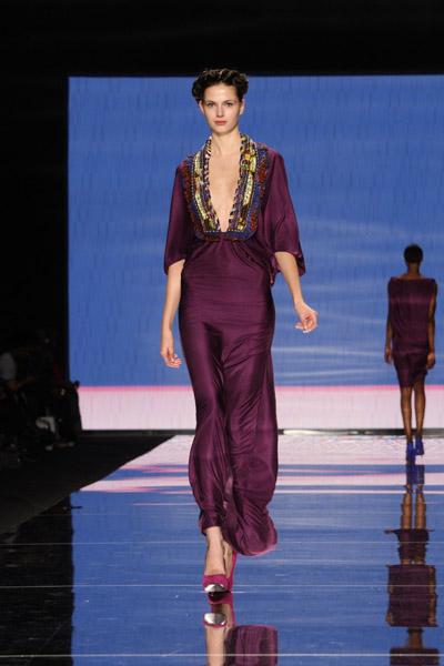 Violet gown with Ankara ruffled neckline (Eva, Czech Republic)