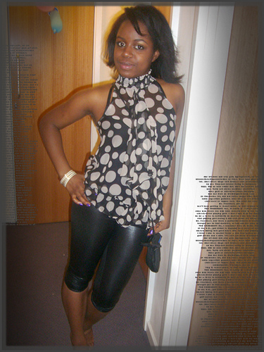 Night out; Leather look leggings: TkMaxx, Top: Newlook