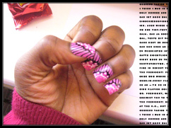 One the rare occasion that I've got time and I'm feeling eccentric – I do my own glue-on acrylic nail designs