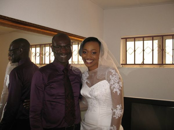 All dressed up and just enough time for a quick shot with her dress designer Yemi
