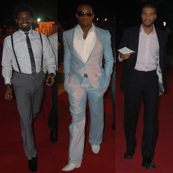 These gentlemen went for the semi-formal look. Basketmouth in his grey trousers and suspenders. D'Banj in his pale blue suit and our other gentleman in his paired down black suit. Nice one guys!