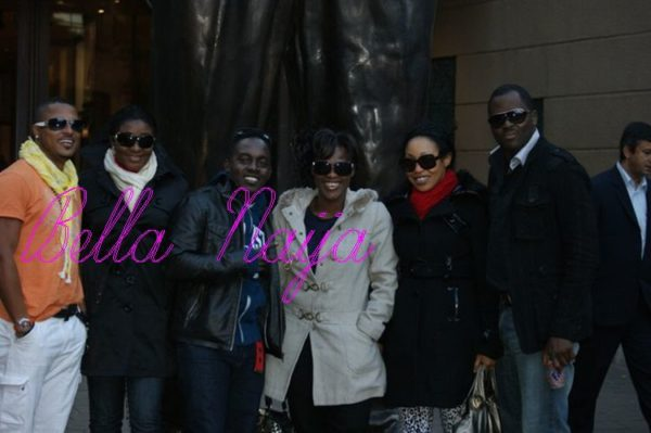 Glo ambassadors Van Vicker, Ini Edo-Ehiagwina , Uche Jombo, Rita Dominic and Desmond Elliot bump into MI in Jozi