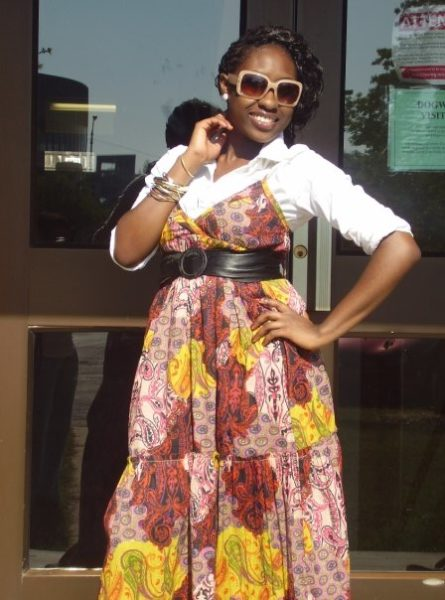 Another way to wear a dress; with a crisp white shirt under and with my rainbow belt-my fav!!!