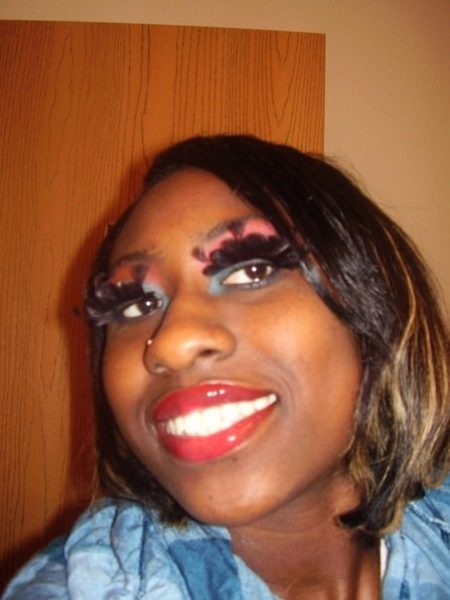 My alter ego Cha Cha..LOL..Red lipstick and Mary Kay eye shadow in rust and teal, plus crazy eye lashes.