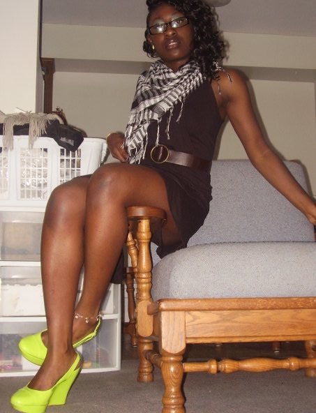 My Rihanna inspired neon green shoes from payless, paired with my Afghan , a black summer dress and a brown leather belt