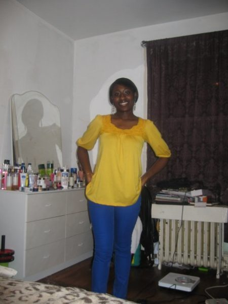Blue skinny jeans paired with yellow knit top: Rainbow
