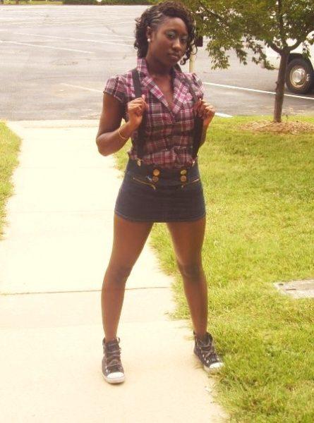 Sneakers: Payless; Micro mini skirt: Dots; Plaid blazer and suspenders: Rainbow