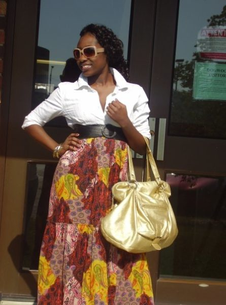 Tucked the top of the dress inside and turned it into a skirt and belted it! Gorgeous gold bag from AFAZE