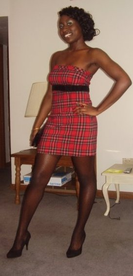 Plaid dress; Clutch: Bakers; Tights: Wet Seal