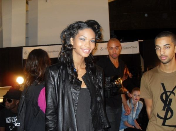 Supermodel in the making Chanel Iman smiles for the BN cameras - that's her cute bf Tyga with her