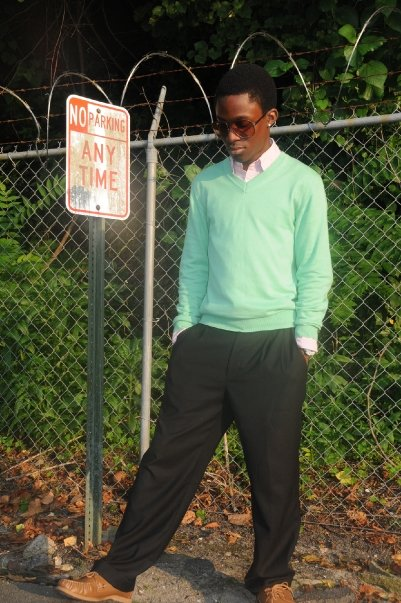 DG shades; Shirt: Next; Sweater: Topshop; Pants: Next; Sperry topsider