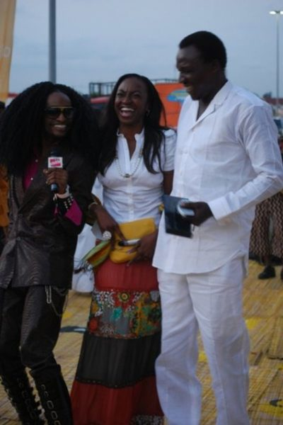 Kate Henshaw-Nuttall enjoys a laugh with Denrele