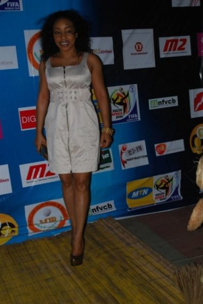 Rita Dominic poses for the flashing cameras