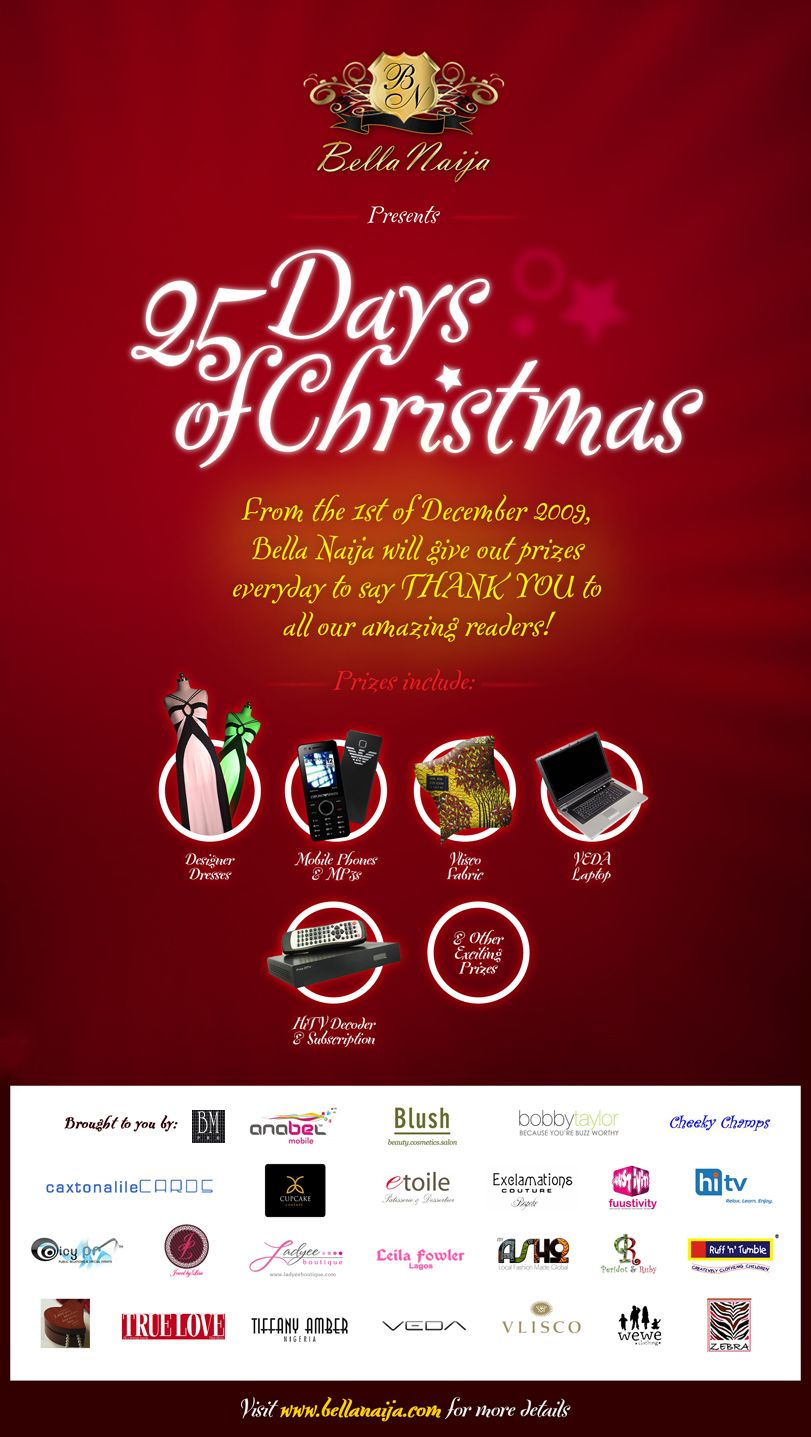 bella naija presents 25 days of christmas bella naija 25 days of christmas flyer