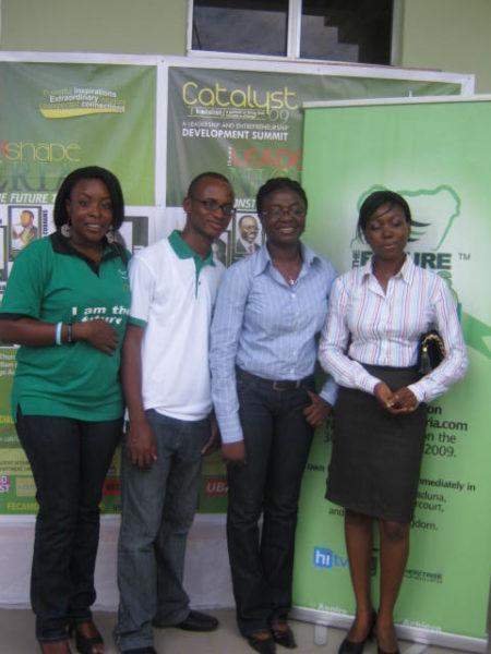 Mosunmola Umoru, Eyitayo Aiyejumoh, Emmanuel John, and a volunteer at the Port Harcourt Town Hall meeting