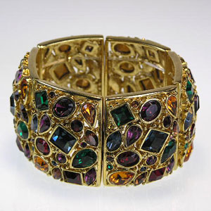 Polished Gold Multi Stone Stretch Bracelet