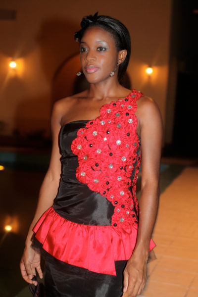 red n blk cocktail dress with flower and jewelled embelishment