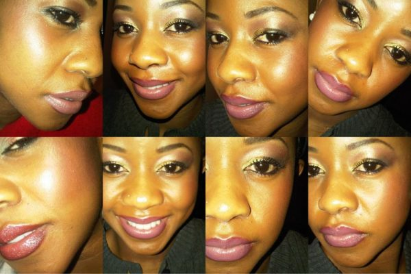 An evening look with noticeable lip color and blush on blat power for the perfect glow