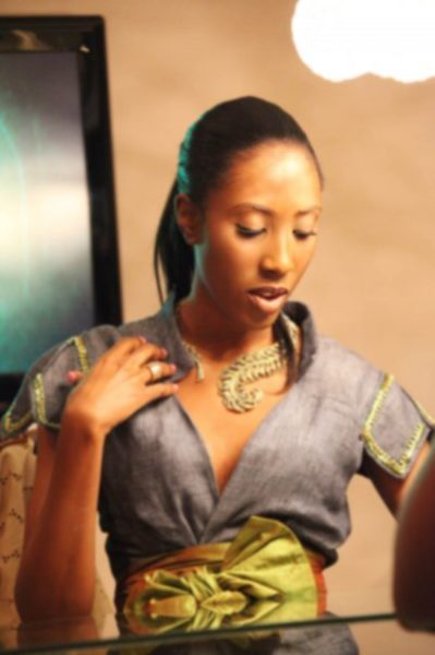 Funke Fowler Style Spotlight Bella Naija0008 in Tiffany Amber, necklace by by Kenneth Jay Lane