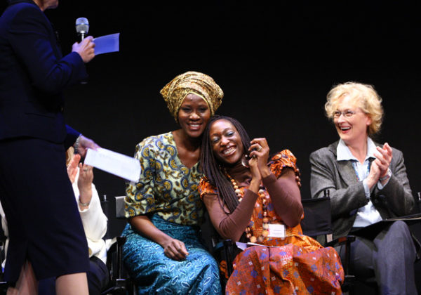 Stephanie Okereke, Hafsat Abiola and Meryl Streep after the reading of the play, Seven