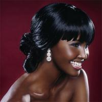 modern black bride low updo