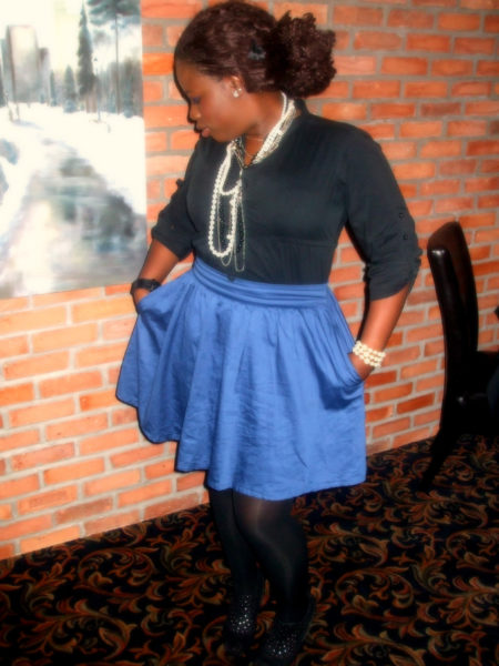 Skirt: dynamite; Pearls: Aldo; Shoes: Winners
