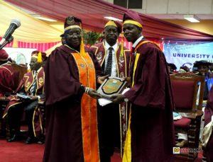 L-R: Prof. Ruquayyat Rufa'i (Education Minister), Prof. Babatunde Sofoluwe (UNILAG VC) & Babatunde Alawode's