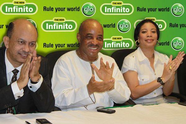 Globacom's Chief Operating Officer, Mohamed Jameel, Globacom's Executive Director, Human Resources, Adewale Sangowawa, and Glo ambassador and Nollywood actress Monalisa Chinda at the launch in Lagos of New Infinito