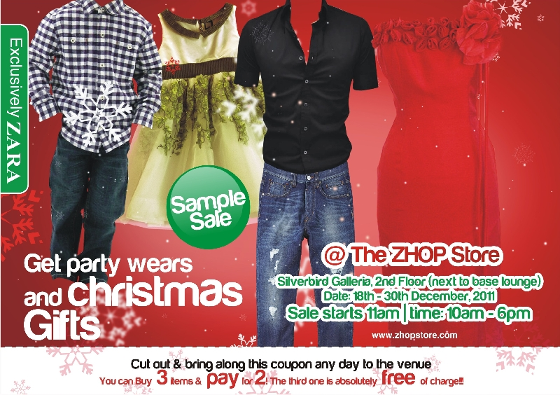 "Get an early taste of Christmas at the Zhop Store ""Taste of Christmas Sample Sale"" event."