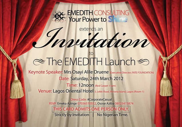 Introducing EMEDITH CONSULTING SoftSkills SelfMotivation with – Launching Invitation Card