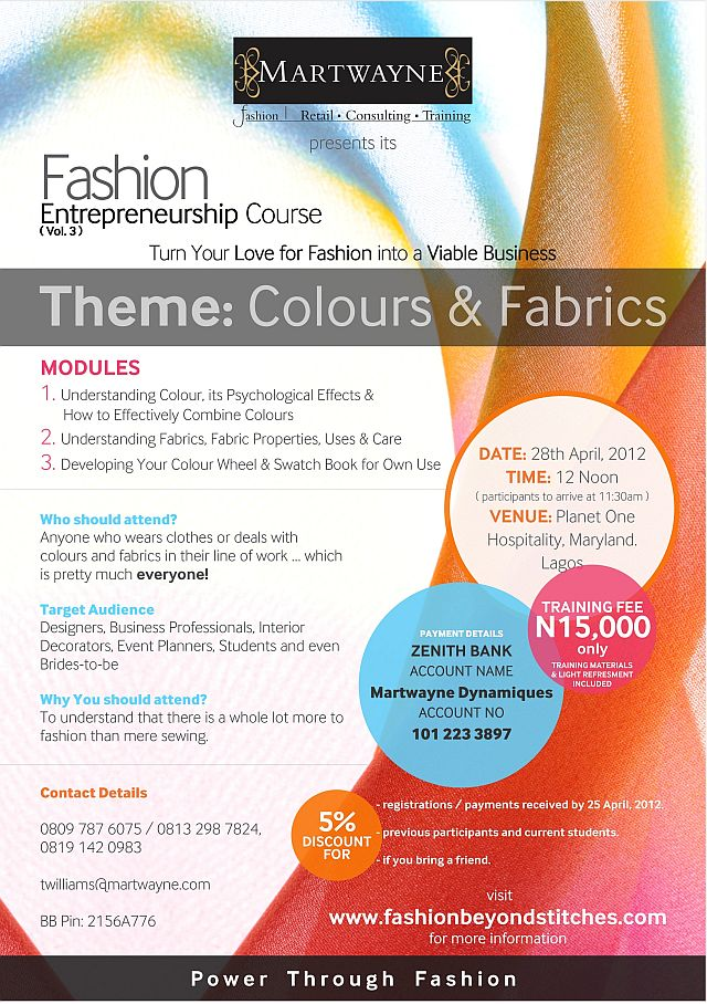 Fashion Training Outfit  Martwayne Presents its Fashion Entrepreneurship Course Themed