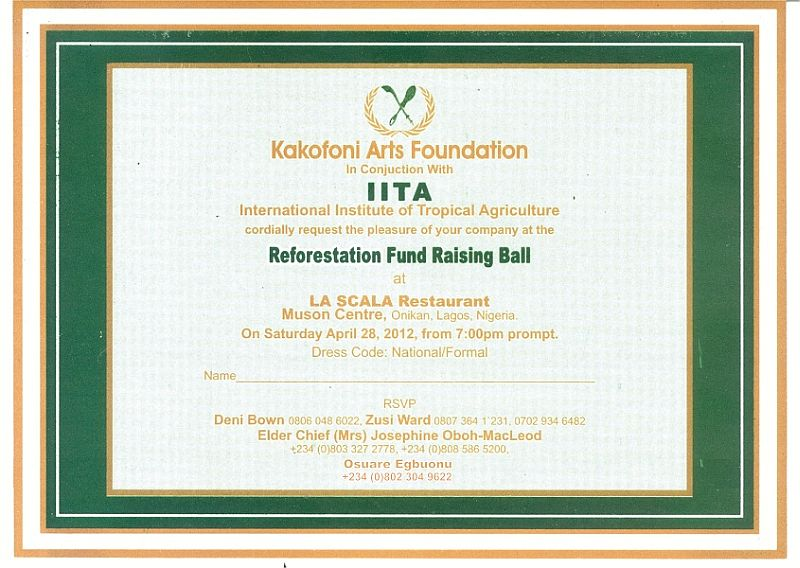 You Are Cordially Invited To The Reforestation Fund Raising Ball