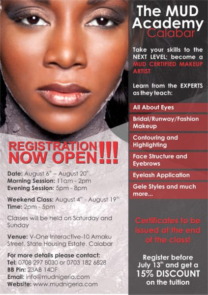 become a certified make up artist this year by enrolling for mud