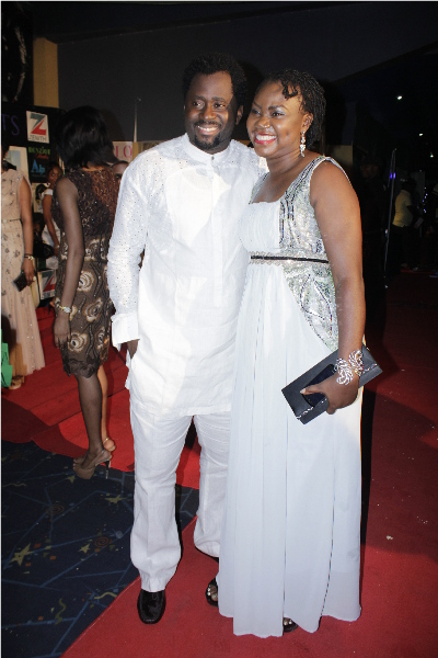 "Desmond Elliot with the ""Okon Goes to School"" Producer Uduak Isong Oguamanam"