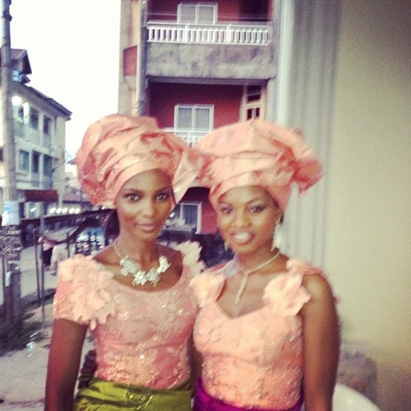 Agbani rocks aso ebi for her sister's traditional wedding