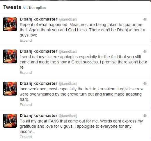 D'banj Koko Concert Tweets