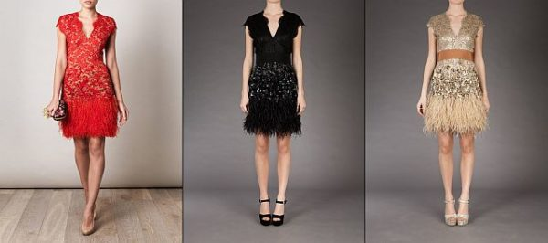 matthew-williamson feather Dress Red Black Beige