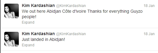 Kim Kardashian Arrives in Abidjan