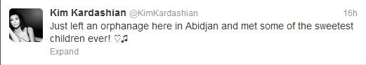 Kim Kardashian Tweets about Orphanage