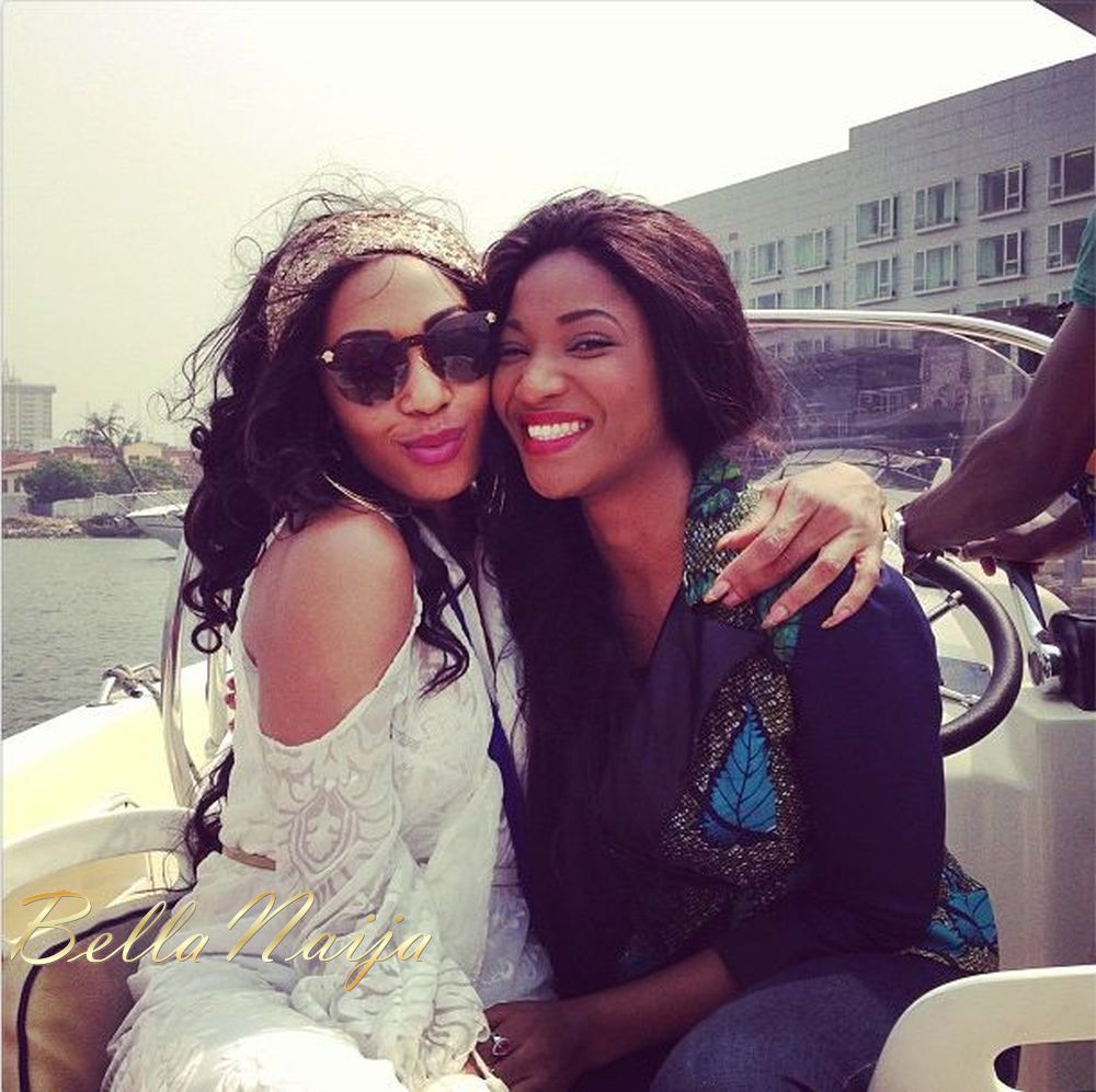 Boating with fellow beauty queen Ene Maya Lawani in Lagos