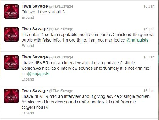 Tiwa Savage Marriage Tweets BellaNaija