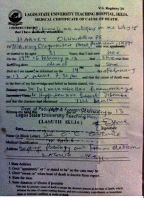 Goldie Harvey Autopsy Report