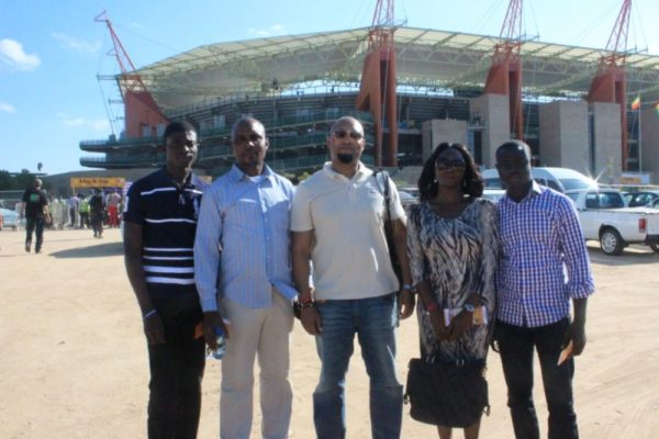 Etisalat customers; Santus Shaida, Paul Moses Abutu and Paul Ehiane (left), Plato Syrimis(Etisalat Director Customer Care) (middle) and Catherina Adeh,  also Etisalat customers on arrival at the Mbombela Stadium, Nelspruit for the Nigeria v Zambia AFCON match