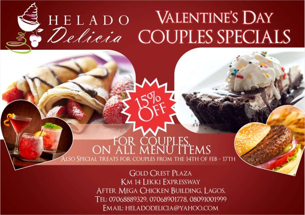 enjoy valentines day couples specials at helado delicia restaurant caf this season 15 off all menu items offer runs from thursday 14th to sunday