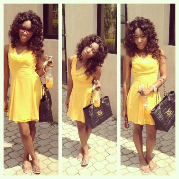 Yellow Sun dress with a Black bag & Sandals